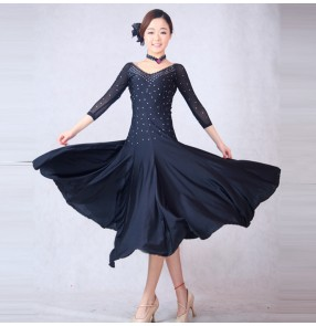Black red blue turquoise rhinestones colored women's ladies female long sleeves competition professional practice latin ballroom waltz tango dance dresses