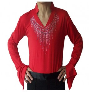 Black red colored mans mens men's male v neck rhinestones long sleeves competition professional latin tango ballroom waltz samba cha cha jive dance shirts tops