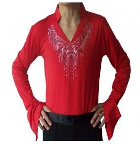 Black red colored mans mens men's male v neck rhinestones long sleeves competition professional latin tango ballroom waltz samba cha cha jive dance shirts tops