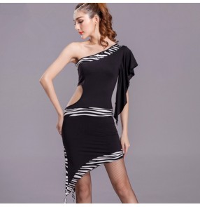 Black red colored one shoulder zebra patchwork sexy fashionable competition practice gymnastics latin  cha cha sumba rumba salsa ballroom dance dresses