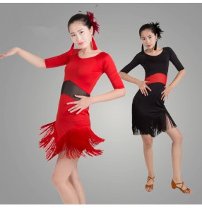 Black red colored patchwork short sleeves competition professional womens ladies female women's  practice latin samba dance cha cha dresses