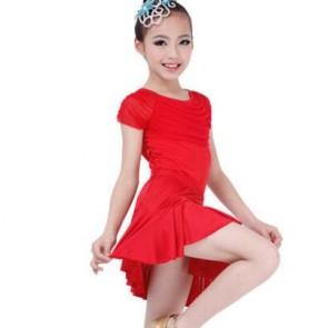 Black red colored short sleeves girls kids child children toddlers competition practice latin salsa cha cha rumba samba dance dresses set split set