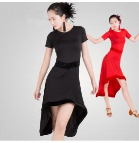 Black red colored short sleeves irregular hem competition professional latin samba salsa cha cha dance dresses