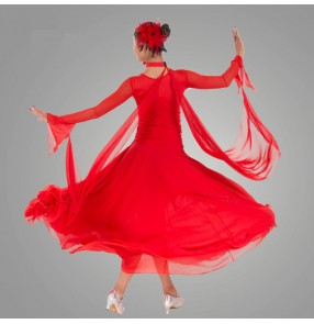 Black red colored women's ladies female long sleeves competition practice professional full skirts  standard ballroom tango waltz long length dresses