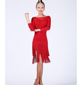 Black red colored women's ladies female professional competition middle long sleeves round neck see through backless latin samba salsa cha cha dance dresses