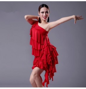 Black red colored women's ladies female ruffles layers one shoulder sleeveless sexy professional latin samba rumba cha cha salsa dance dresses split set