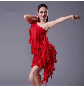 Black red colored women's ladies female ruffles layers one shoulder sleeveless sexy professional latin samba rumba cha cha salsa dance dresses split set