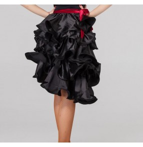 Black red colored women's ladies female sexy fashion competition professional latin samba salsa cha cha rumba dance skirts  hip scarf  skirt
