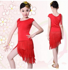 Black red Girls children child kids baby fringe competition professional latin dance dresses sets salsa cha cha dance dresses sets