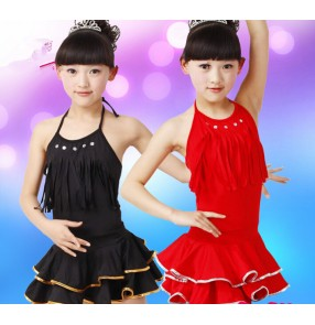 Black red Girls children kids child baby halter backless  exercises competition professional latin dance dresses salsa cha cha dance dresses