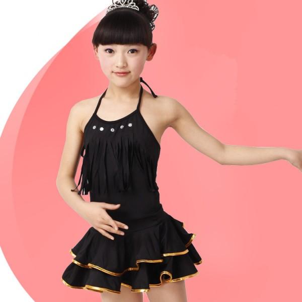 4407df26d7c9 Black red Girls children kids child baby halter backless exercises ...
