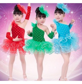 Black red green turquoise polka dot colored velvet with gloves toddlers girls kids child children practice latin  stage performance modern practice gymnastics dance dresses