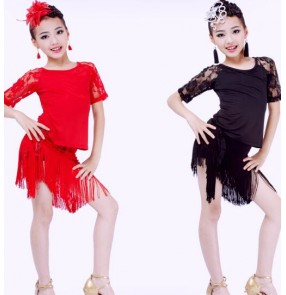 Black red lace colored lace  girls kids child children growth baby competition professional gymnastics latin salsa cha cha rumba samba dance dresses split