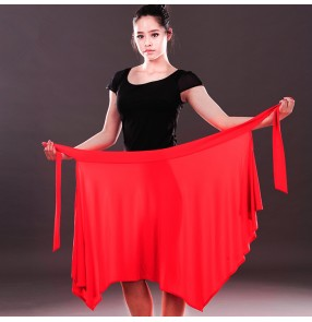 Black red leopard colored women's ladies female sexy fashion exercises competition latin samba salsa cha cha dance skirts  triangle hip scarf skirts