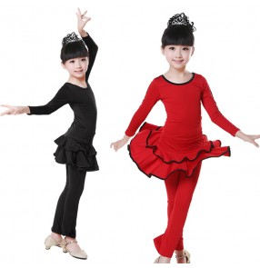 Black red long sleeves dresses and long length pants spandex girls kids children school play gymnastics latin salsa dance dresses outfits