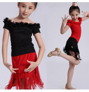 Black red patchwork  colored girls kids child children toddlers baby competition exercises tassels latin samba salsa cha cha dance dresses split set