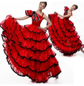 Black red patchwork one shoulder women's ladies female sexy fashion flamenco Spanish bull dance opening dancing stage performance long length dresses skirts outfits costumes