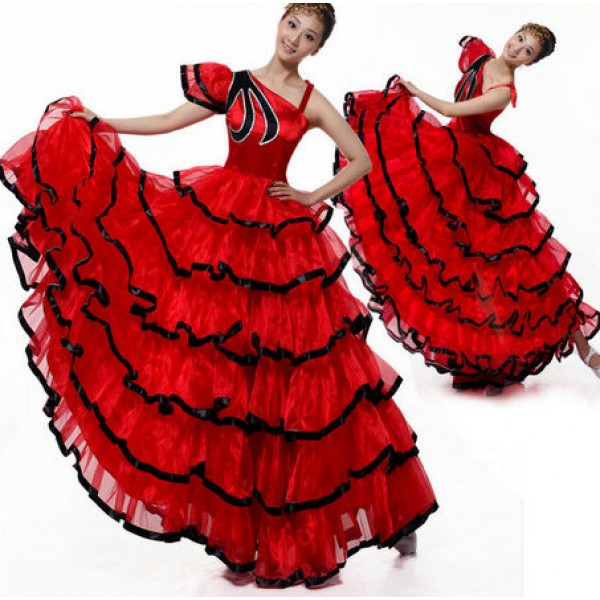 c5251ef98681 Black red patchwork one shoulder women s ladies female sexy fashion flamenco  Spanish bull dance opening dancing stage performance long length dresses  skirts ...