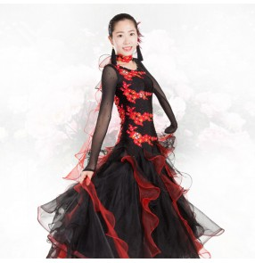 Black red patchwork women's ladies womens female  rhinestones high quality long sleeves competition professional full skirted standard ballroom waltz tango dance dresses