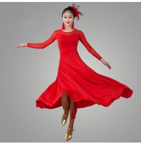 Black red royal blue fuchsia colored long sleeves womens women's ladies female competition professional practice latin ballroom samba salsa cha cha dance dresses