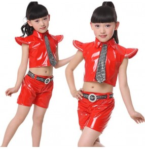 Black red royal blue paillette sashes with tie girls kids child children toddlers stage performance modern dance jazz hip hop ds dj singer street dance costumes clothes