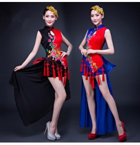 Black red royal blue red patchwork women's cheongsam embroidery pattern fringes tassels Chinese ancient folk dancing fairy cos play drummer playing stage performance costumes outfits