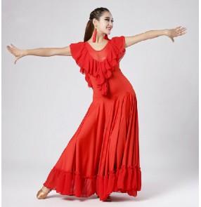 Black red Ruffle  short sleeves ballroom dance practice dress