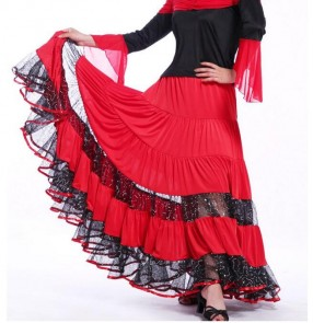 Black red striped sequins women's ladies female competition stage performance professional ballroom tango flamenco waltz dance skirts