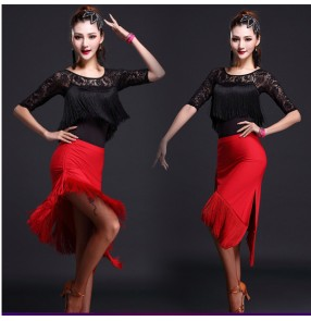 Black red  Women's girls ladies fringe lace competition professional exercises latin dance dress samba salsa cha cha dance dresses