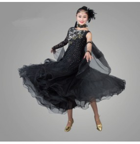 Black red yellow fuchsia green white royal blue  diamond lace long sleeves diamond one shoulder sleeves patchwork competition professional full skirted full standard  latin ballroom tango dance dresses