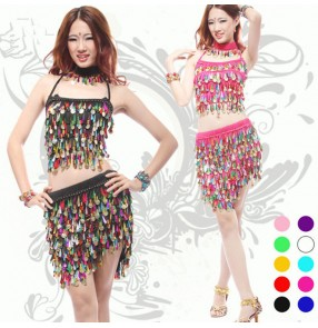 Black red yellow turquoise green royal blue violet fuchsia pink rainbow paillette colored women's ladies female latin dane dresses samba salsa cha cha  split set