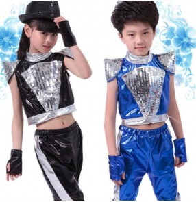 Black royal blue pu leather paillette girls kids child children boys toddlers stage performance jazz dance dj ds hip hop dance costumes clothing