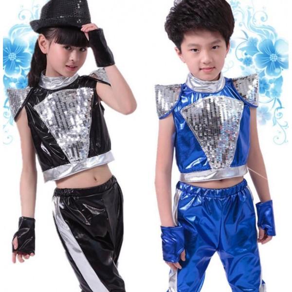 Black Royal Blue Pu Leather Paillette Girls Kids Child