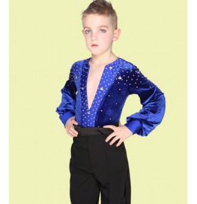 Black royal blue velvet rhinestones long sleeves boys kids child children toddlers competition stage performance latin salsa cha cha ballroom dance leotard shirts tops