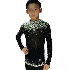 Black royal blue white red Boy's diamond long sleeves ballroom waltz dance tops shirts