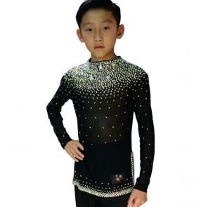 Black royal blue white red Boy's diamond long sleeves ballroom waltz dance tops shirts