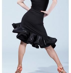 Black ruffles irregular hem competition professional womens Women's female ladies latin samba salsa cha cha dance skirts