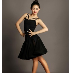 Black sexy backless strap sleeveless women's ladies female fashion competition stage performance professional latin samba salsa ballroom dance dresses outfits skirts
