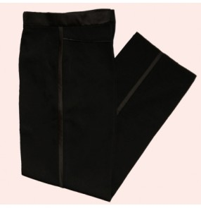 Black side ribbon boys child children kids toddlers competition professional long length ballroom latin dance pants