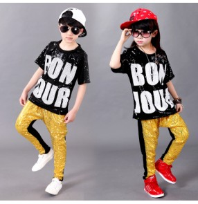 Black silver gold patchwork paillette sequined  short sleeves girls boys toddlers growth kindergarten  kids child children hip hop jazz ds dj singer dance costumes clothes tops and pants