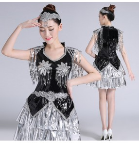 Black silver patchwork sequins fringes women's ladies fashion stage performance  leather hip hop jazz dj singer dance costumes outfits dresses