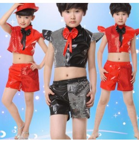 Black silver red sequined patchwork toddlers kindergarten kids child children boys girls modern dance stage performance jazz dj ds singer hip hop dance costumes top and shorts set