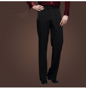 Black small vertical striped colored men's male mans mens competition professional long length stage performance latin ballroom tango waltz jive dance pants trousers