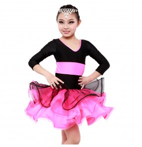Black splicing Children Latin skirts