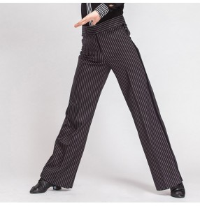 Black striped colored mens mans male men's competition professional side hip ribbon latin samba waltz tango jive ballroom dance pants trousers