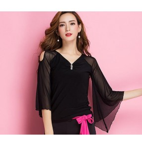 Black V neck long loose sleeves fashion women's ladies female competition stage performance ballroom tango latin waltz dance tops