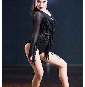 Black velvet floral long sleeves fringes fashion women's ladies competition performance gymnastics latin ballroom leotards tops bodysuits