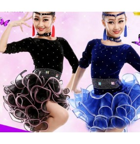 Black velvet royal blue rhinestones competition long sleeves ruffles swing skirts girls kids child children toddlers leotard competition latin ballroom salsa cha cha dance dresses