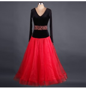 Black velvet  tops with red big skirted lace patchwork long sleeves v neck competition professional women's performance ballroom tango waltz dancing dresses outfits