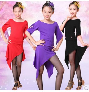Black violet red Girls children child kids baby short sleeves competition exercises latin dance top and skirt salsa cha cha samba dance dresses set